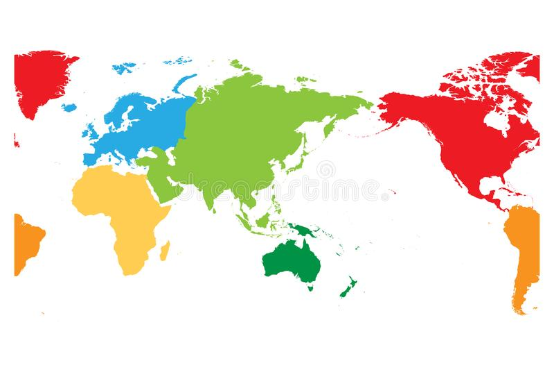 La carte du monde s'est divisée en six continents L'Asie et l'Australie centrées Chaque continent dans la couleur différente Appa illustration stock