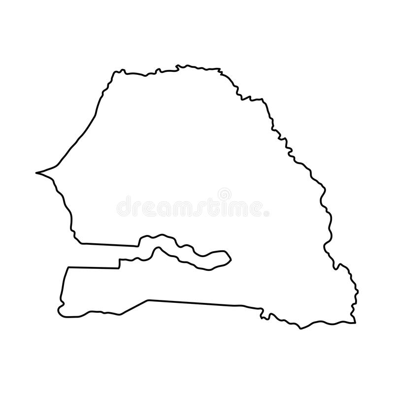 La carte du Sénégal de la découpe noire courbe sur le fond blanc du vecto illustration de vecteur
