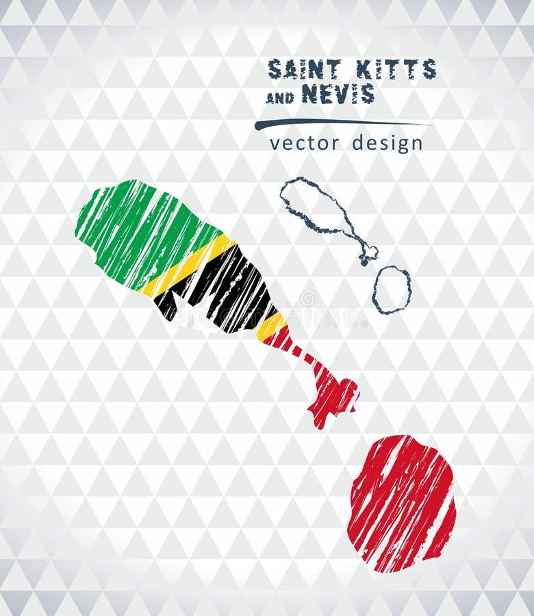 La carte du saint Kitts et Niévès avec le stylo tiré par la main de croquis tracent à l'intérieur Illustration de vecteur illustration stock