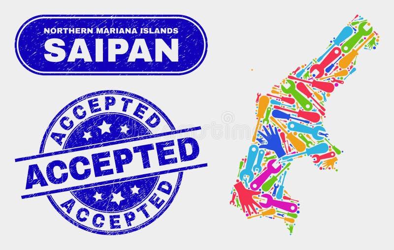 La carte et la détresse d'île de Saipan d'usine ont accepté des joints illustration de vecteur