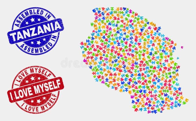 La carte et le grunge assemblés et moi de la Tanzanie de paquet s'aiment des timbres illustration de vecteur