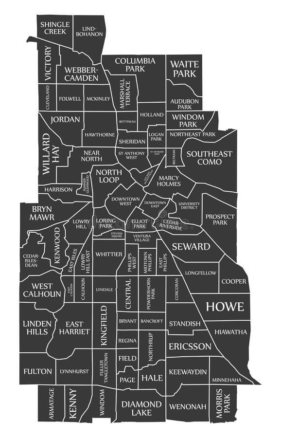 La carte Etats-Unis de ville de Minneapolis Minnesota a marqué l'illustration noire illustration libre de droits