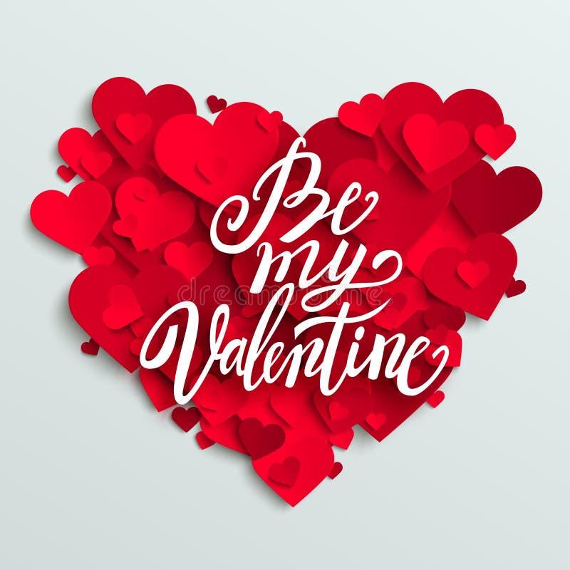 La carte heureuse de Saint-Valentin, les coeurs rouges et soient mon lettrage de Valentine illustration libre de droits