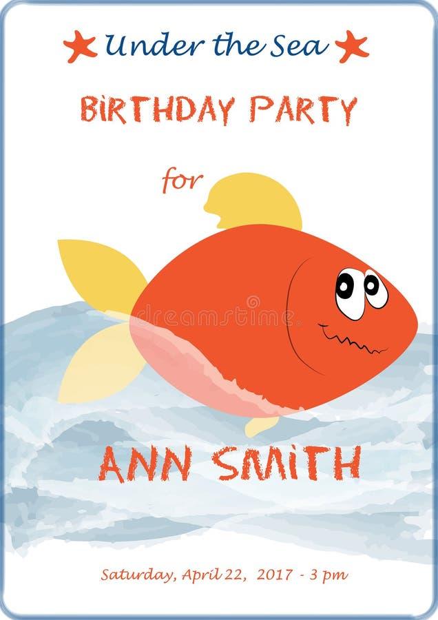 La carte mignonne d'invitation d'anniversaire de bébé de bande dessinée avec des vagues de mer et la flamme pêchent Illustration  illustration de vecteur