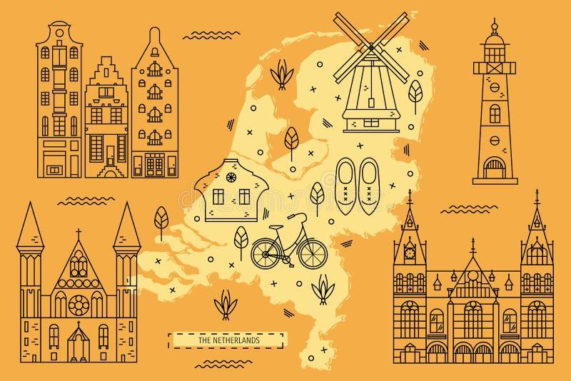 La carte néerlandaise dans la ligne plate conception illustration stock
