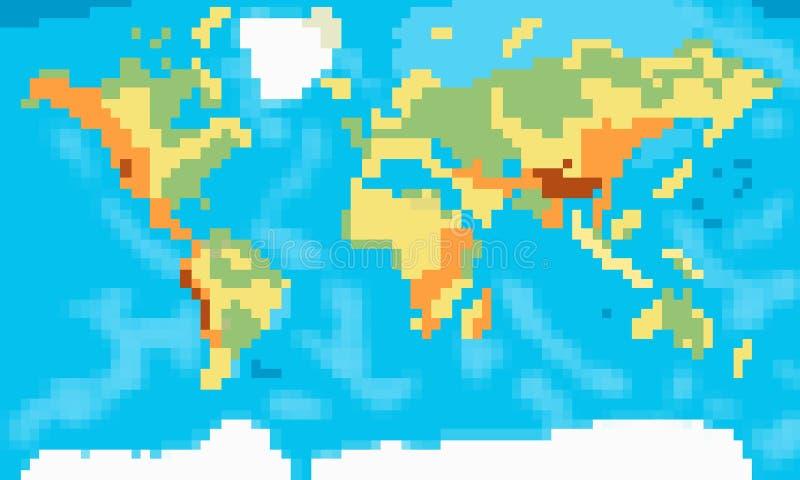 Art De Pixel De Carte Du Monde Illustration Stock