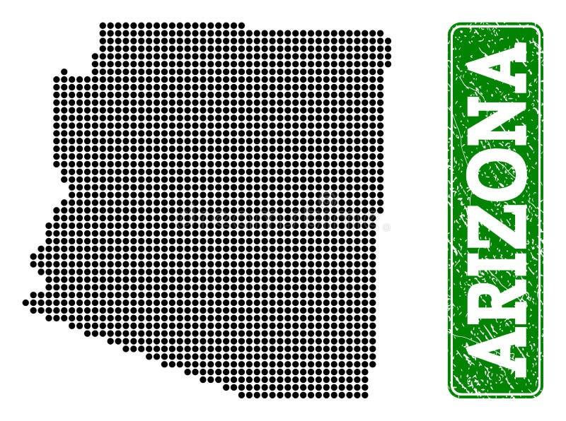 La carte pointillée de l'état de l'Arizona et du rectangle grunge a arrondi la légende illustration de vecteur