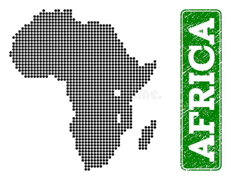 La carte pointillée de l'Afrique et du rectangle grunge a arrondi la légende illustration libre de droits