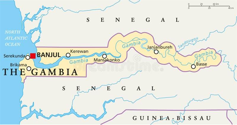 La carte politique de la Gambie illustration libre de droits