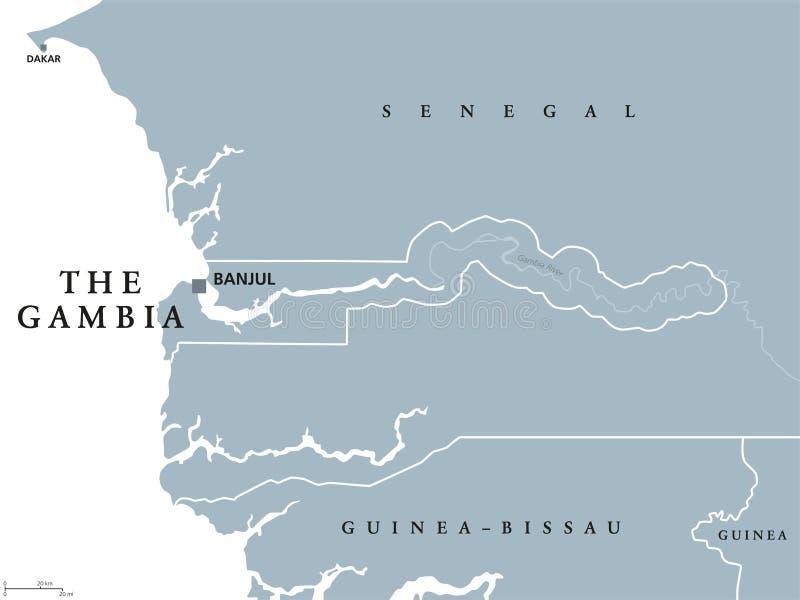 La carte politique de la Gambie illustration stock