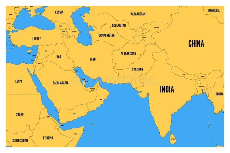 La carte politique du vecteur plat simple de l'Asie du sud et de Moyen-Orient tracent avec la terre jaune et la mer bleue illustration libre de droits