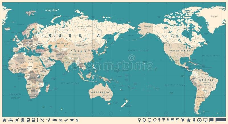 La carte politique Pacifique du monde de vintage a centré illustration libre de droits