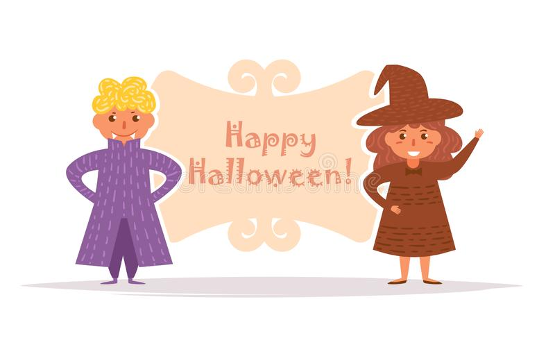 La carte postale avec des enfants dans Halloween costume le vecteur cartoon D'isolement illustration de vecteur