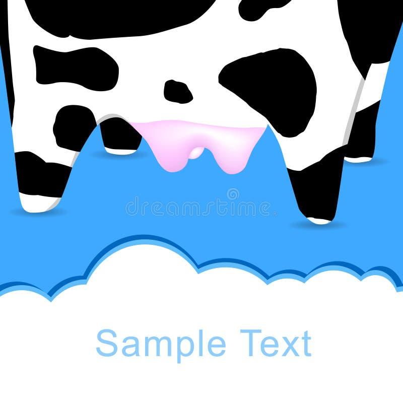 La carte postale de la vache pour la saisie des textes illustration stock