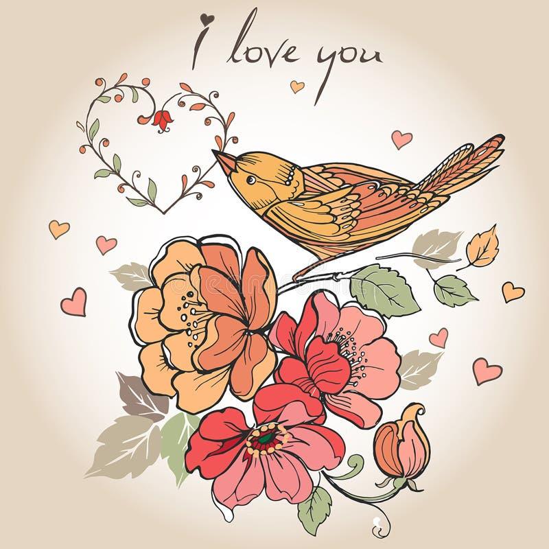 La carte postale de vintage fleurit, des oiseaux, coeurs, je t'aime peut être employé illustration de vecteur