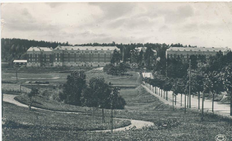 La carte postale imprimée en Suède montre la vue de la ville de Boras, vers 1924 image libre de droits