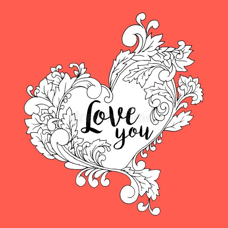 La carte postale stylisée de vieille école pour la conception de jour de mères ou de valentines avec le cadre de coeur, vous aime illustration de vecteur