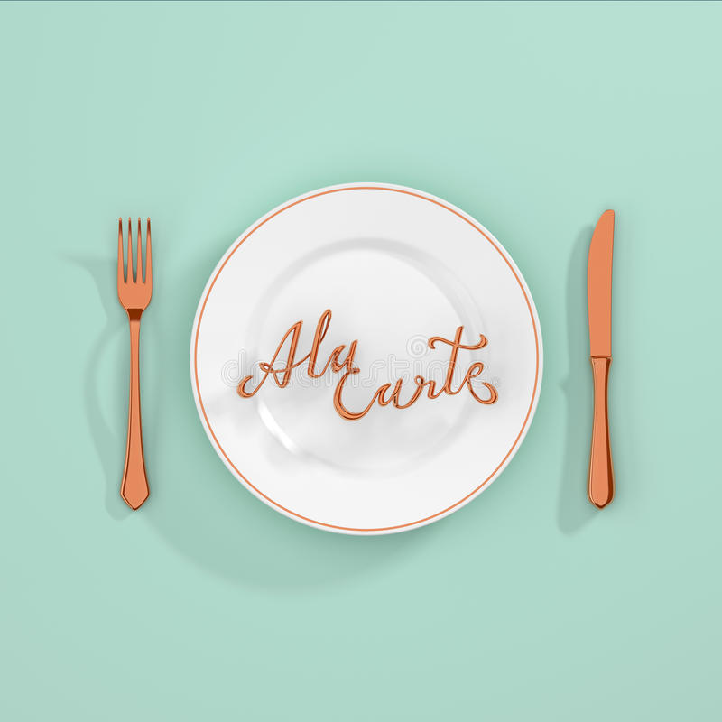 A la carte Quote Typographical Background with fork and knife 3D rendering 3D illustration vector illustration