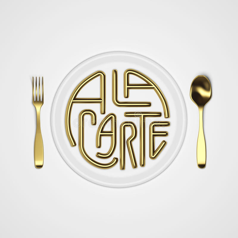 A la carte Quote Typographical Background with fork and knife 3D rendering 3D illustration stock photos