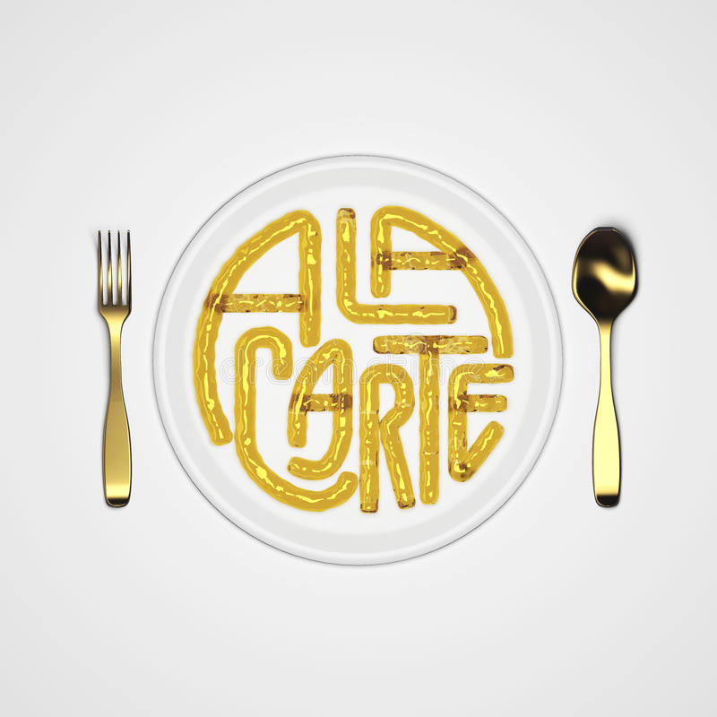 A la carte Quote Typographical Background with fork and knife 3D rendering 3D illustration royalty free stock photography