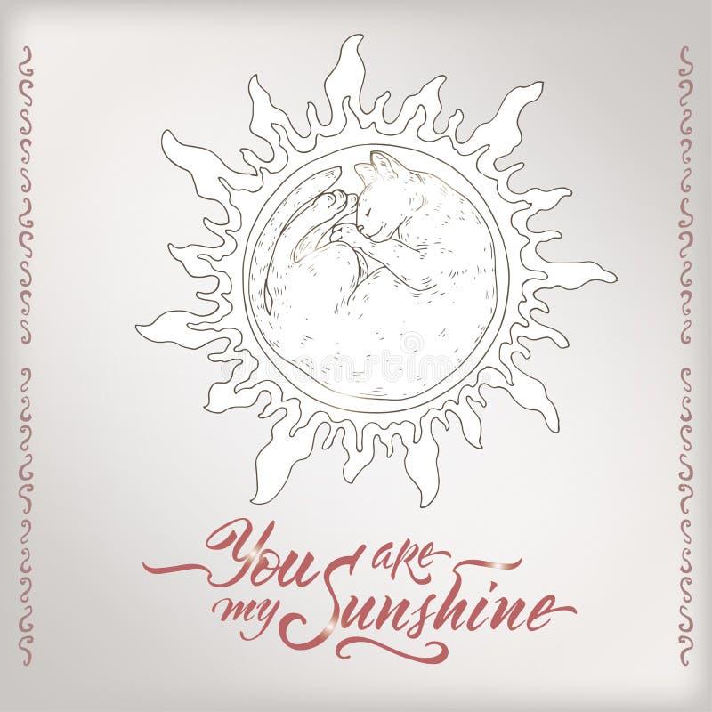La carte romantique de Valentine avec le chat de sommeil brillant comme le lettrage du soleil et de brosse saing vous sont mon so illustration de vecteur