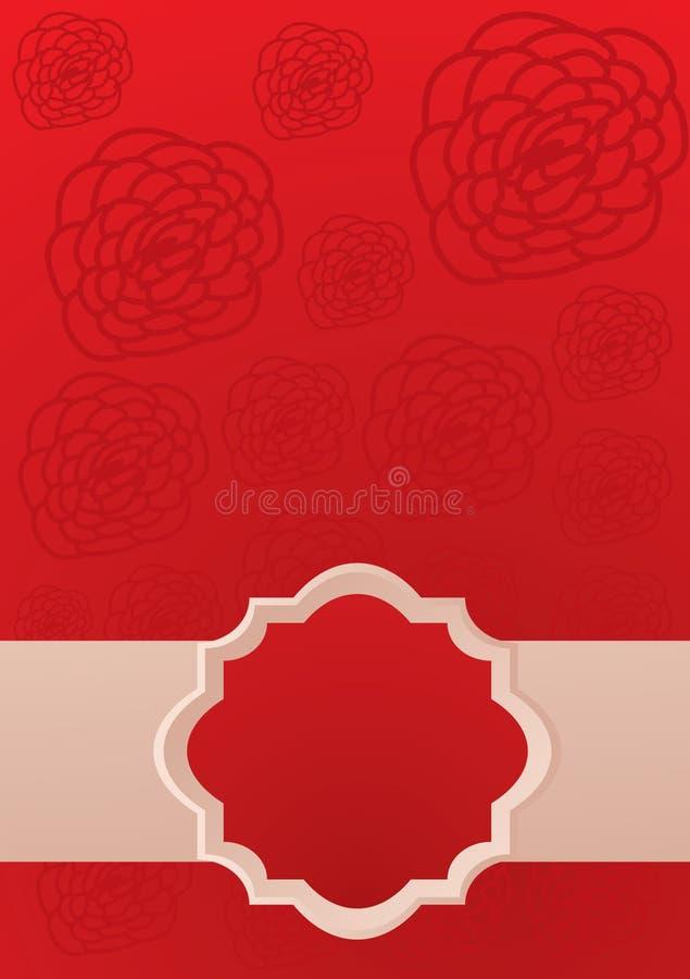 La carte rouge avec s'est levée illustration stock