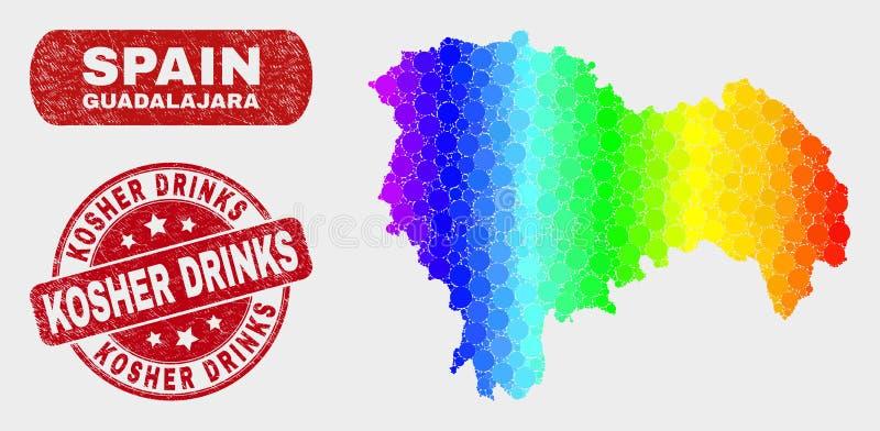 La carte spectrale de province de Guadalajara de mosaïque et les boissons cachères grunges emboutissent le joint illustration stock