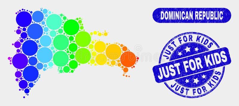 La carte spectrale de la République Dominicaine de mosaïque et a rayé juste pour des enfants emboutissent le joint illustration libre de droits