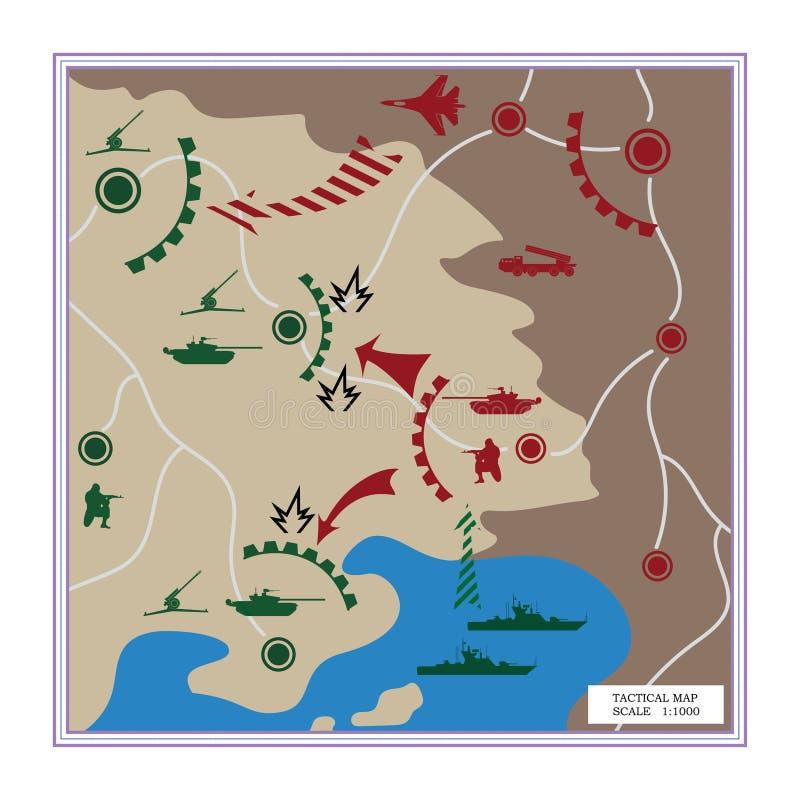 La carte tactique avec les icônes détaillées illustration stock