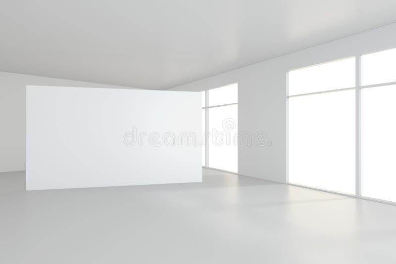 La cartelera blanca en blanco en sitio vacío con las ventanas grandes, imita para arriba, la representación 3D foto de archivo libre de regalías