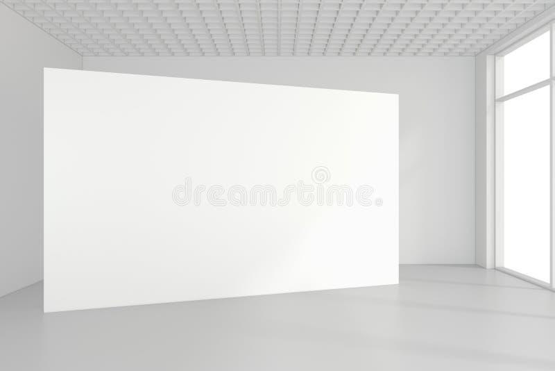 La cartelera blanca en blanco en sitio vacío con las ventanas grandes, imita para arriba, la representación 3D fotografía de archivo