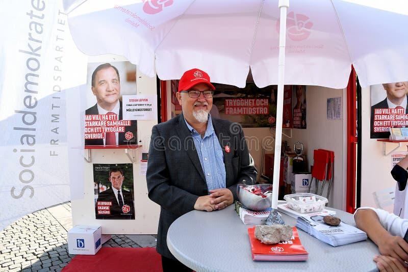 La cartelera con el primer ministro ½ de Sedish del ¿de Stefan Lï fven elecciones imagen de archivo libre de regalías
