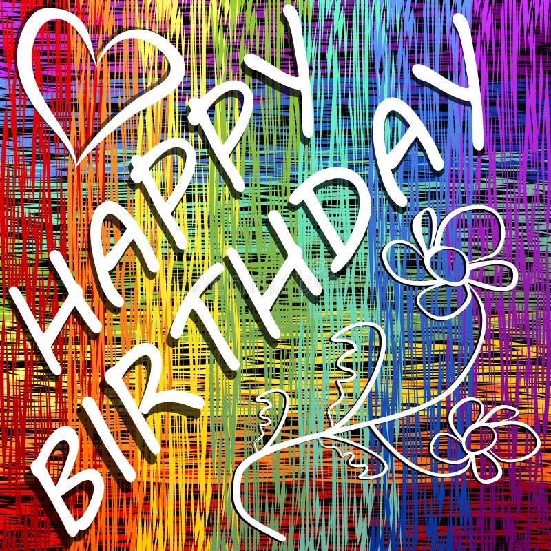 La cartelera del feliz cumpleaños del Grunge en la disposición del arco iris con el corazón y el garabato florecen ilustración del vector