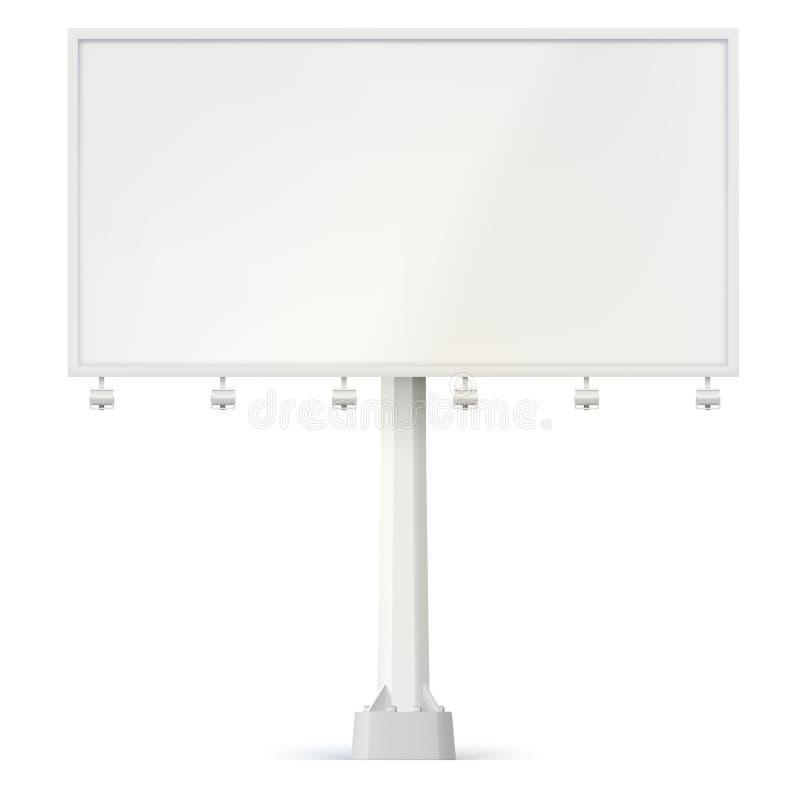 La cartelera en blanco, la vista delantera con las lámparas y la ayuda empernaron a la base ejemplo 3d aislado en el fondo blanco libre illustration