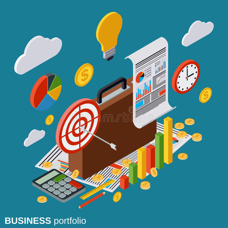 La cartella, business plan, rapporto, statistiche finanziarie, analisi dei dati vector il concetto illustrazione vettoriale
