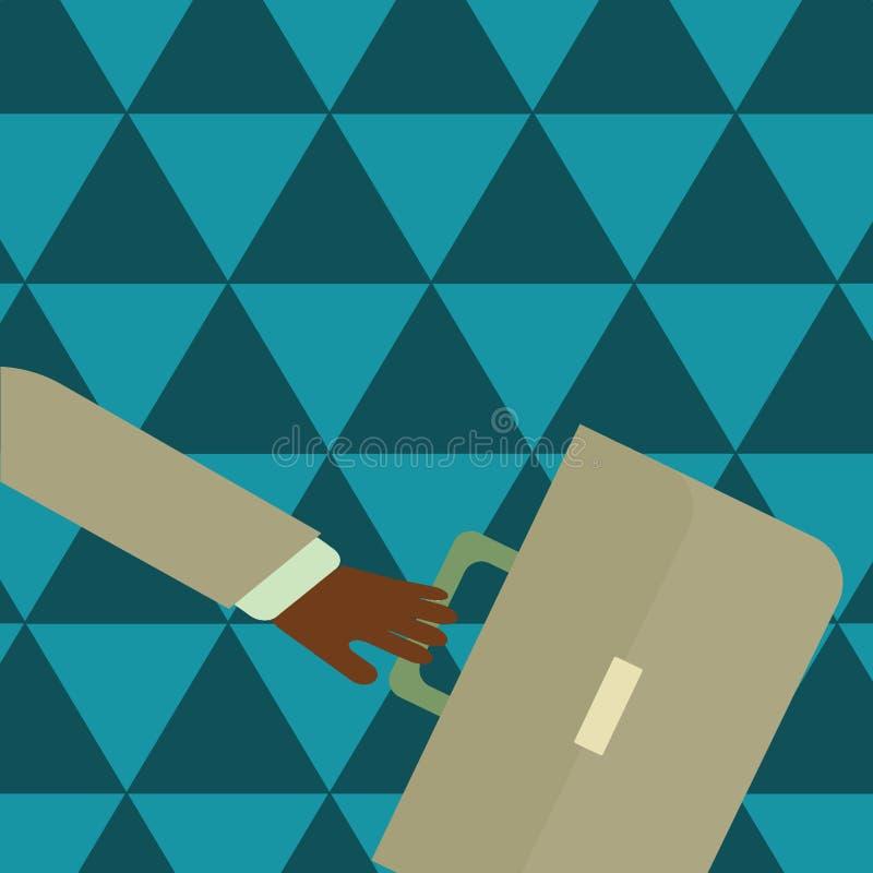 La cartella ed il braccio di Hand Holding Colorful dell'uomo d'affari hanno ondeggiato la parte posteriore più lontana ha fretta  illustrazione di stock