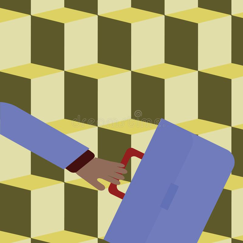 La cartella ed il braccio di Hand Holding Colorful dell'uomo d'affari hanno ondeggiato la parte posteriore pi? lontana ha fretta  illustrazione di stock