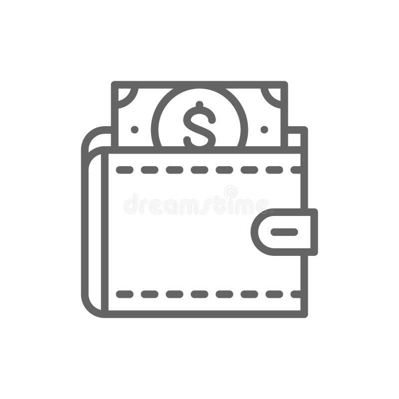 La cartera con los d?lares, ahorra el dinero, invierte la l?nea icono libre illustration