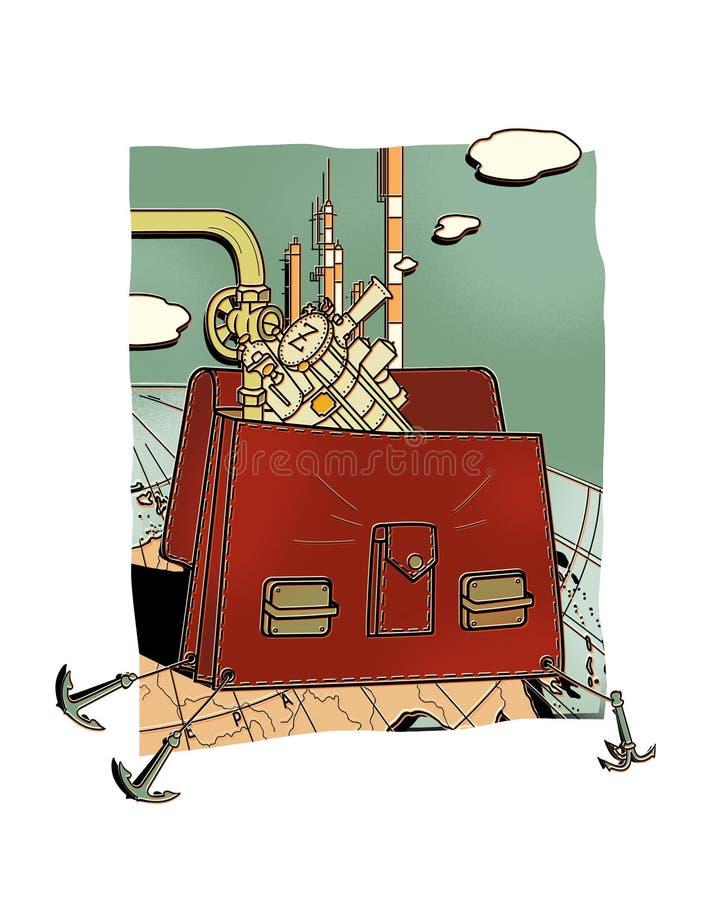 La cartera de seguridades es metalurgia y tubos Cartera con una locomotora de vapor y un fondo de la trompeta contra un globo ilustración del vector