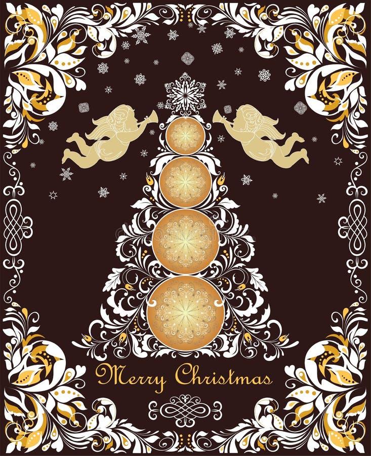 La cartolina d'auguri d'annata decorata di Natale con carta decorativa floreale ha tagliato il confine, l'albero di natale, gli a illustrazione di stock
