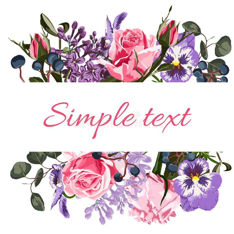 La cartolina d'auguri con i fiori, acquerello, può essere usata come carta dell'invito per nozze, compleanno e l'altri festa e ba illustrazione vettoriale