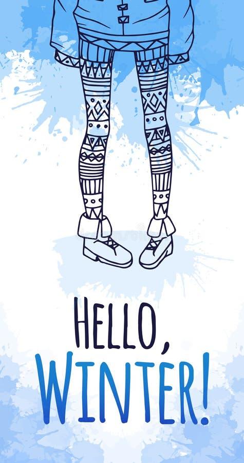La cartolina d'auguri con l'acquerello spruzza e gambe femminili illustrazione vettoriale