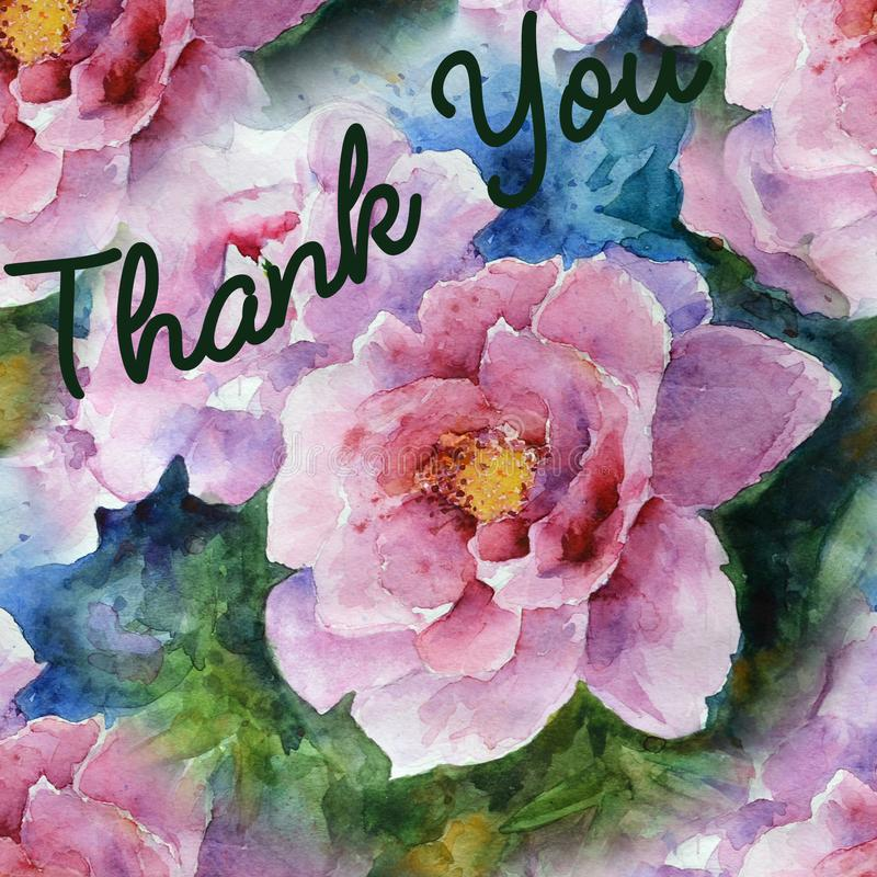 La cartolina d'auguri con l'ornamento floreale vi ringrazia acquerello royalty illustrazione gratis