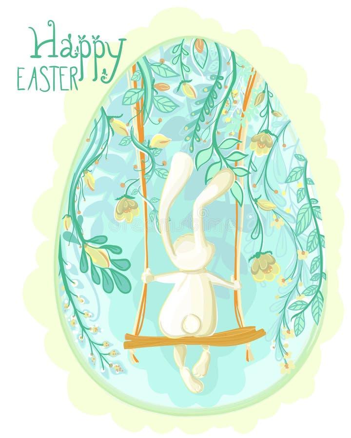 La cartolina d'auguri decorativa dell'uovo di Pasqua con coniglio ed il blu fiorisce immagini stock libere da diritti