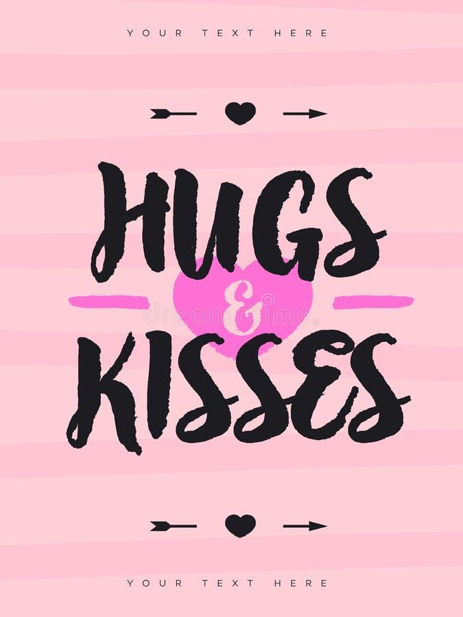 La cartolina d'auguri dei biglietti di S. Valentino con il segno abbraccia e baci, simbolo di cuore e freccia su fondo rosso illustrazione di stock