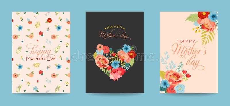 La cartolina d'auguri del giorno di madri ha messo con il mazzo dei fiori Insegna floreale felice di giorno di madre Migliore man illustrazione di stock