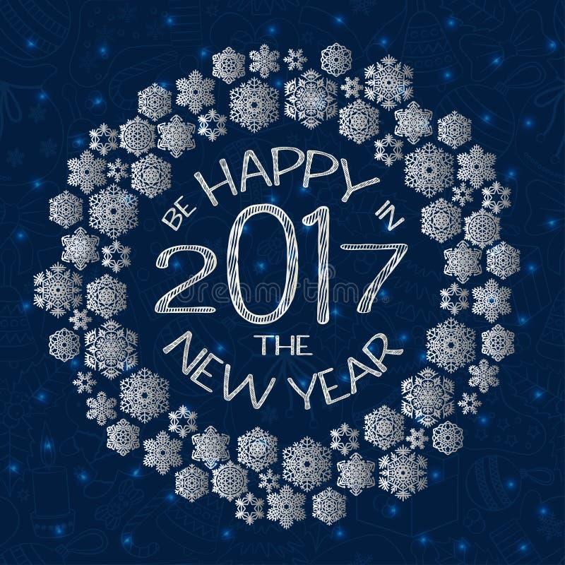 La cartolina d'auguri del nuovo anno con testo è felice in nuovo anno 2017 e fiocchi di neve royalty illustrazione gratis