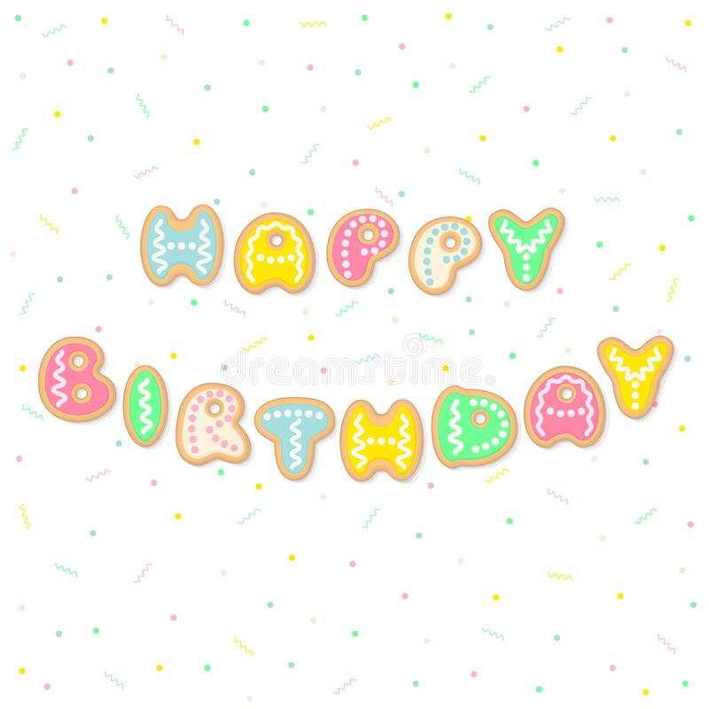 La cartolina d'auguri di buon compleanno con i biscotti del fumetto segna il formin con lettere illustrazione vettoriale
