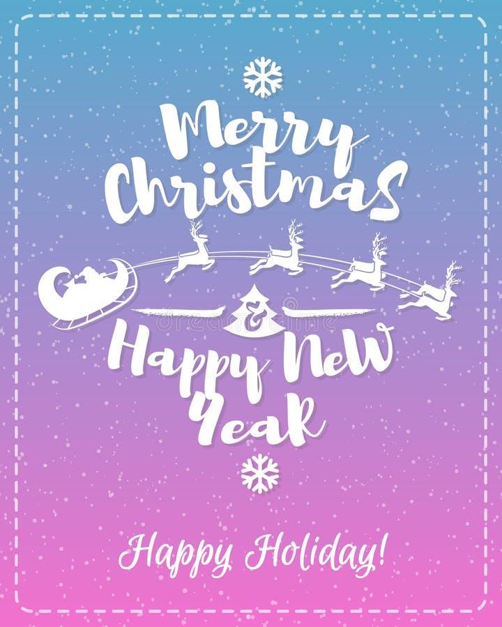 La cartolina d'auguri di Natale con il Buon Natale consistente del segno dell'etichetta bianca gode di e buon anno illustrazione vettoriale