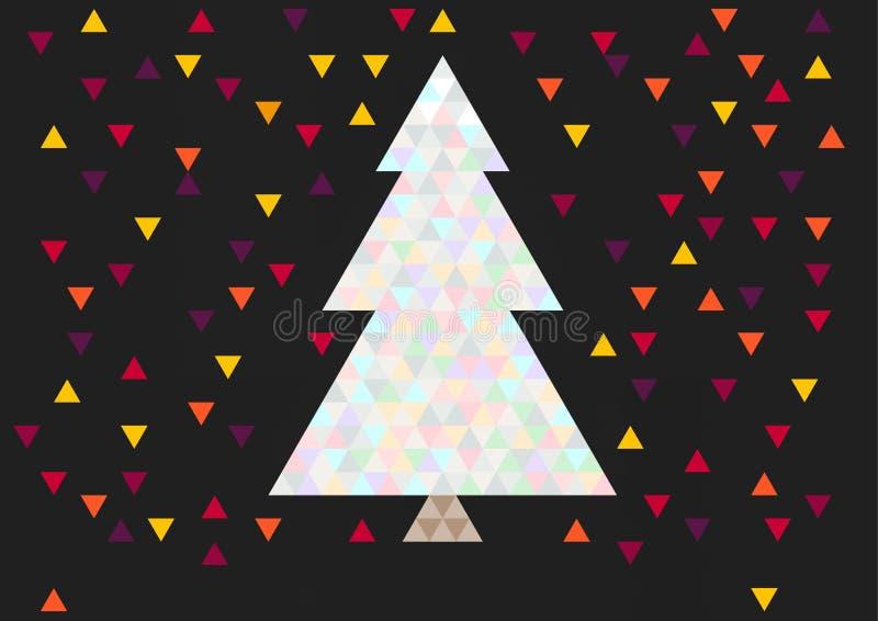 La cartolina d'auguri di Natale, l'albero del triangolo alla notte e la magia colorano le luci royalty illustrazione gratis